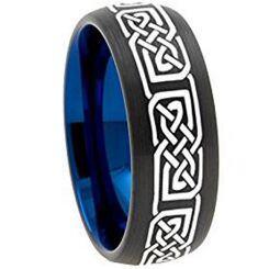 COI Titanium Black Blue Celtic Dome Court Ring - 3148