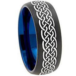 COI Titanium Black Blue Celtic Dome Court Ring - 3151