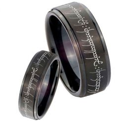 COI Black Titanium Lord of The Ring Step Edges Ring - JT3394AA