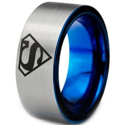 COI Titanium Blue Silver SuperMan Pipe Cut Flat Ring - 3226