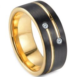 *COI Titanium Black Gold Ring With Cubic Zirconia - 3249