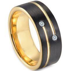 *COI Titanium Black Gold Ring With Cubic Zirconia - 3249