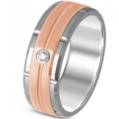 *COI Titanium Rose Silver Tire Tread Cubic Zirconia Ring-325