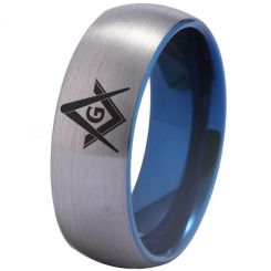 COI Titanium Blue Silver Masonic Dome Court Ring - 3275