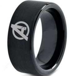 COI Black Titanium Marvel Avengers Pipe Cut Flat Ring - 3329