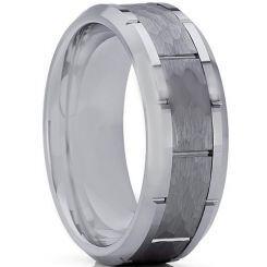 COI Titanium Hammered Brick Pattern Ring-3361