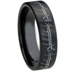 COI Black Titanium Lord of The Ring Pipe Cut Ring-3367