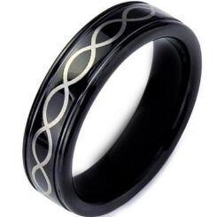 COI Black Titanium Infinity Step Edges Ring - JT059AAA