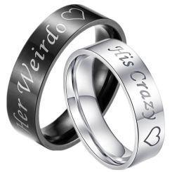 COI Titanium Her Weirdo His Crazy Pipe Cut Flat Ring-3376