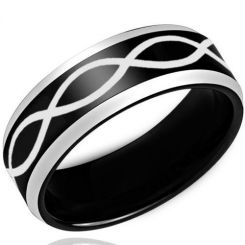 COI Titanium Black Silver Infinity Beveled Edges Ring - 3443