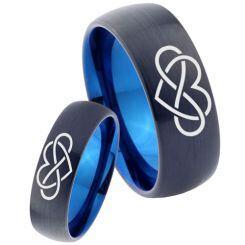 COI Titanium Black Blue Infinity Heart Dome  Court Ring-3449