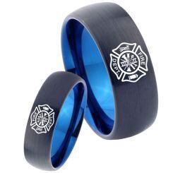 COI Titanium Black Blue Firefighter Dome Court Ring - 3465