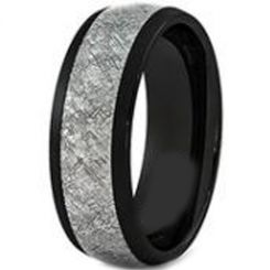 COI Black Titanium Ring With Meteorite-3467AA(Size US10.5)