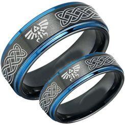 COI Titanium Black Blue Legend of Zelda Celtic Ring - 3482