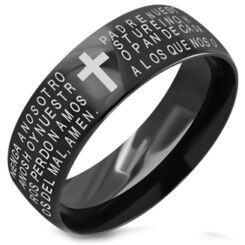 COI Black Titanium Cross Prayer Dome Court Ring - 3498