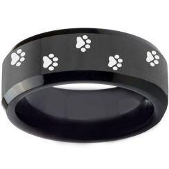 COI Black Titanium Paws Print Beveled Edges Ring - 3550