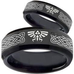 COI Black Titanium Legend of Zelda Celtic Beveled Edge Ring-3561