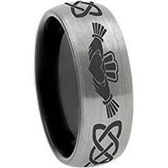 *COI Titanium Black Silver Mo Anam Cara Dome Court Ring-JT141BB