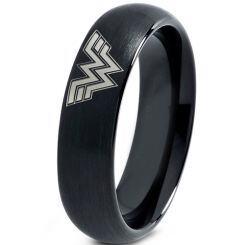 *COI Black Titanium Wonder Woman Dome Court Ring - JT4049