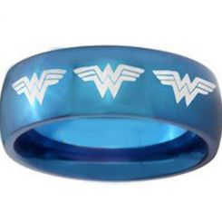 *COI Blue Titanium Batman Dome Court Ring-3685