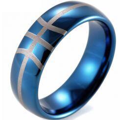COI Titanium Blue Silver Dome Court Basketball Ring - JT3837CCC