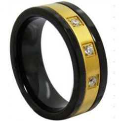*COI Titanium Black Gold Ring With Cubic Zirconia - 3942