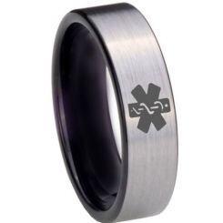 COI Titanium Black Silver Medic Alert Pipe Cut Flat Ring - 3975