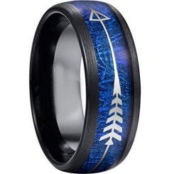 COI Black Titanium Meteorite Ring With Arrows-3978