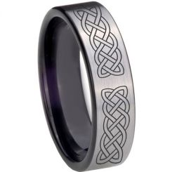 COI Titanium Black Silver Celtic Pipe Cut Flat Ring - 4015