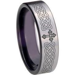 COI Titanium Black Silver Celtic Cross Pipe Cut Flat Ring - 4022