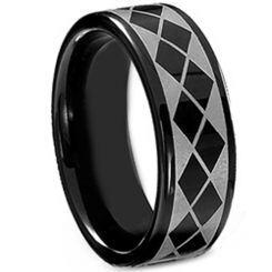 *COI Black Titanium Checkered Flag Pipe Cut Flat Ring-4025