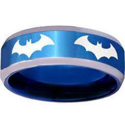 **COI Titanium Blue Silver Batman Beveled Edges Ring - JT4055