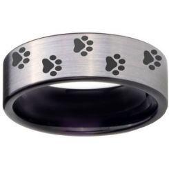 COI Titanium Black Silver Paws Print Pipe Cut Flat Ring - 4058