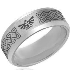 *COI Titanium Legend of Zelda Celtic Beveled Edges Ring - 4123