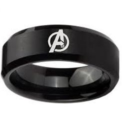 COI Black Titanium Marvel Avengers Beveled Edges Ring - 4164