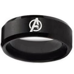 COI Black Titanium Marvel Avengers Beveled Edges Ring - 4164