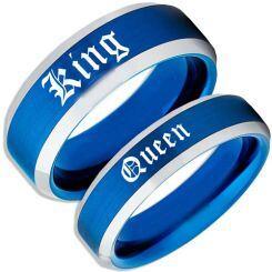 COI Titanium Blue Silver King Queen Beveled Edges Ring-4168