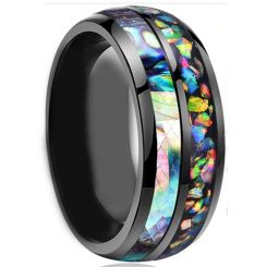 *COI Black Titanium Crushed Opal and Abalone Shell Dome Court Ring-4257