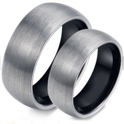*COI Titanium Black Silver Dome Court Ring - JT3569