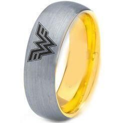 **COI Titanium Gold Tone Silver Wonder Woman Dome Court Ring-4428