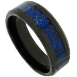COI Titanium Black Blue Dragon Beveled Edges Ring - JT3707