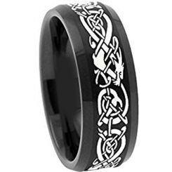 COI Black Titanium Dragon Beveled Edges Ring - 4488