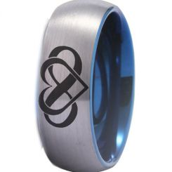 COI Titanium Blue Silver Infinity Heart Dome Court Ring-4489