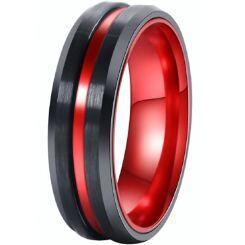 *COI Titanium Black Red Center Groove Beveled Edges Ring - 4527