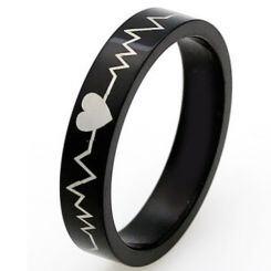 **COI Black Titanium Heartbeat & Heart Pipe Cut Ring - 4568