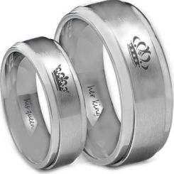 *COI Titanium King Queen Crown Step Edges Ring - JT3800