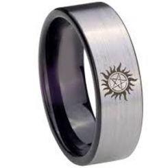 COI Titanium Black Silver Supernatural Pipe Cut Ring-4583