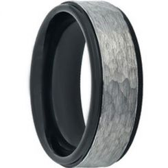 COI Titanium Black Silver Hammered Wedding Band Ring - JT3822