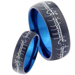 COI Titanium Black Blue Lord of The Ring Dome Court Ring-4622