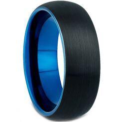 **COI Titanium Black Blue Dome Court Ring - JT3911